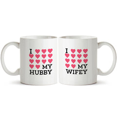 I love my hubby, I love my wifey. Couple gifts for the husband and wife. Anniversary gifts below Rs. 500 Printed Coffee Mugs