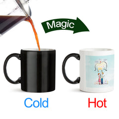Couple under umbrella sketch design black magic mugs| Design appears when hot water is poured