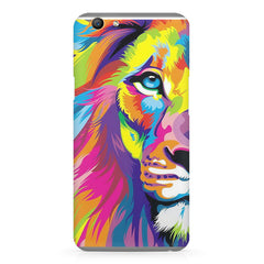 Colourfully Painted Lion design,  Oppo F5  printed back cover