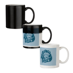 Lion sketch design black magic mugs| Design appears when hot water is poured