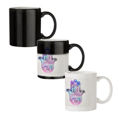 Ethnic pattern on palm design black magic mugs| Design appears when hot water is poured
