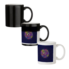 Colourful Om rangoli design black magic mugs| Design appears when hot water is poured