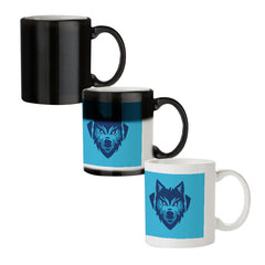 Wolf logo design black magic mugs| Design appears when hot water is poured