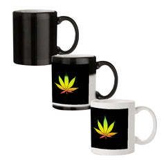 Marihuana colour contrasting design black magic mugs| Design appears when hot water is poured