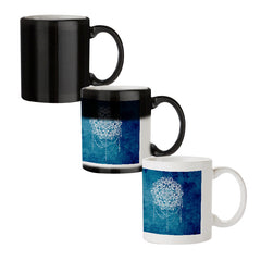 Ethnic design on blue pattern black magic mugs| Design appears when hot water is poured