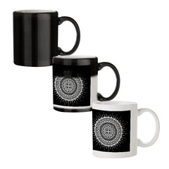 Ethnic design on black pattern black magic mugs| Design appears when hot water is poured