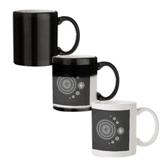Ethnic design pattern black magic mugs| Design appears when hot water is poured