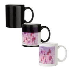 Girl with lipsticks sketch design black magic mugs| Design appears when hot water is poured