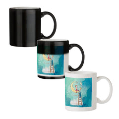 Couple on moon sketch design black magic mugs| Design appears when hot water is poured