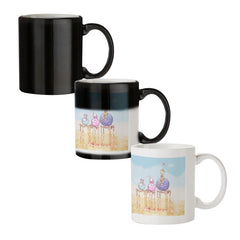 Woollen ball ride sketch design black magic mugs| Design appears when hot water is poured