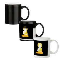 Buddha sketch design black magic mugs| Design appears when hot water is poured