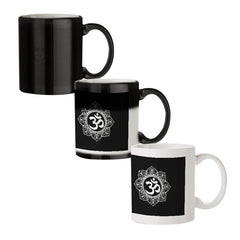 Om rangoli design black magic mugs| Design appears when hot water is poured