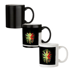 Marihuana colour contrasting pattern design black magic mugs| Design appears when hot water is poured