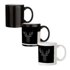 Geometrical reindeer design black magic mugs| Design appears when hot water is poured