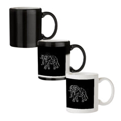 Geometrical elephant design black magic mugs| Design appears when hot water is poured
