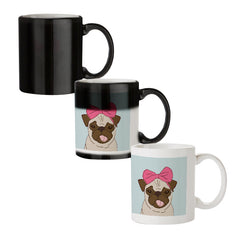 Pug with a bow on head sketch design  black magic mugs| Design appears when hot water is poured
