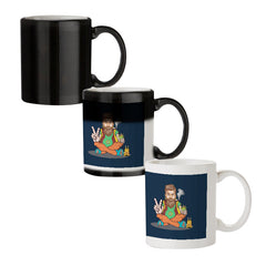 Beard guy smoking sitting design black magic mugs| Design appears when hot water is poured