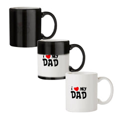 I <3 my Dad Design black magic mugs| Design appears when hot water is poured