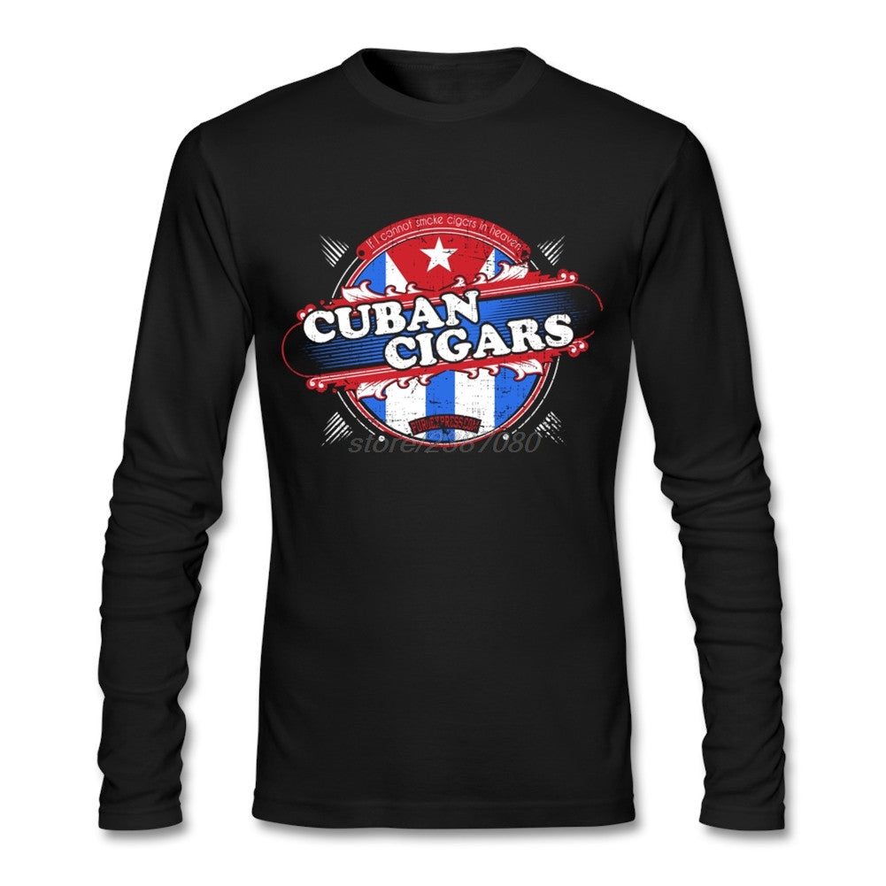 Personalized For Mens Cuban Cigars Graphic T Shirts Full Sleeve Cool Shirt