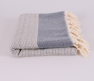 Amalfi Black Turkish Towel-Miz Casa & Co-Nomads Cove