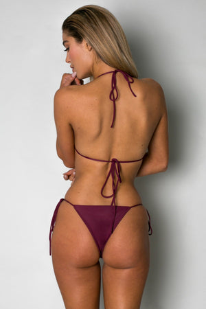 Cantik - Bordeaux String Along Bottoms-Cantik Swimwear-Nomads Cove