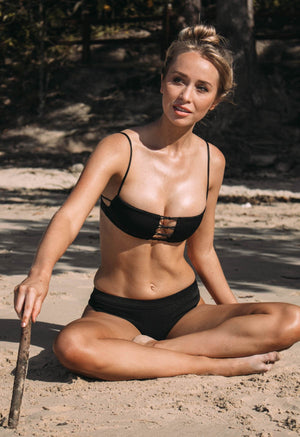 Cantik - Eclipse Bottoms in Black Corduroy-Cantik Swimwear-Nomads Cove