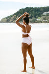Ete - Beau High-Waist Bottoms in Blush Embroidery-Ete Swimwear-Nomads Cove
