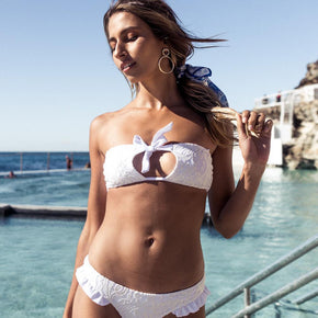 Ete - Bella Bikini Top in White Lace-Ete Swimwear-Nomads Cove