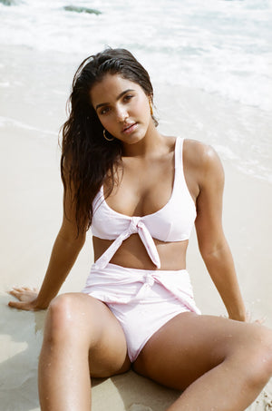 Ete - Malia Top in Blush Embroidery-Ete Swimwear-Nomads Cove