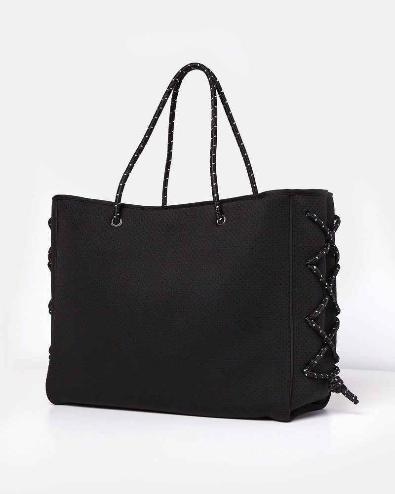 Miz Casa & Co Harper Neoprene Tote Bag Black-Miz Casa & Co-Nomads Cove