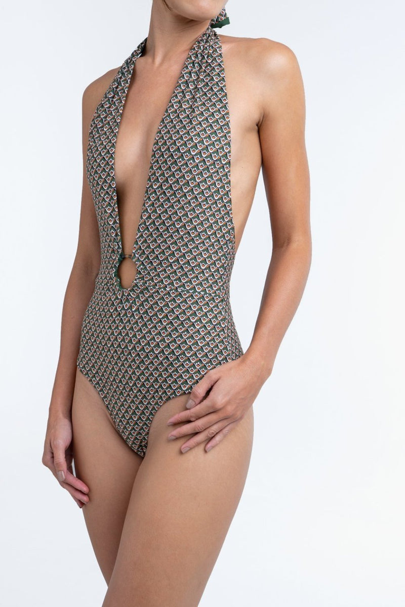 Palm - Harvey Bodysuit in Moss Waterlily-Palm Swimwear-Nomads Cove