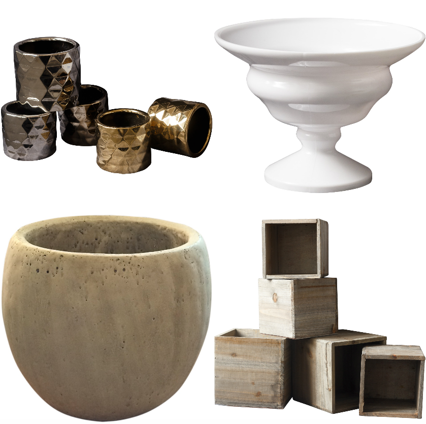 A modern geometric vase, white footed bowl, concrete vessel, and wooden box demonstrate the diversity of Lucky Penny products