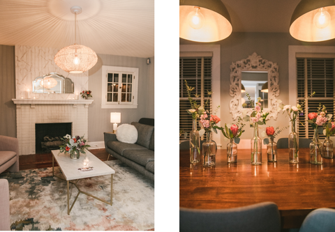 Baltimore Event Florist | Parsonage House | Co-Balt | Hampden | Event Space | Lucky Penny Floral | Bottle Trio | Medium Centerpiece | Baltimore Wedding Florist
