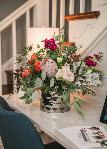 Baltimore Event Florist | Lucky Penny Floral | Colorway No. 4 | Large Centerpiece| Silver Geometric Vase | Protea | Eucalyptus