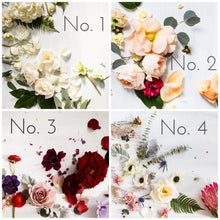 Flowers depicting four color palettes: green and white (no. 1), blush and peach (no. 2), marsala and plum (no.3), and protea and anemones (no. 4)