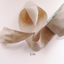 Jute ribbon that looks similar to burlap ribbon for a wrapped bouquet