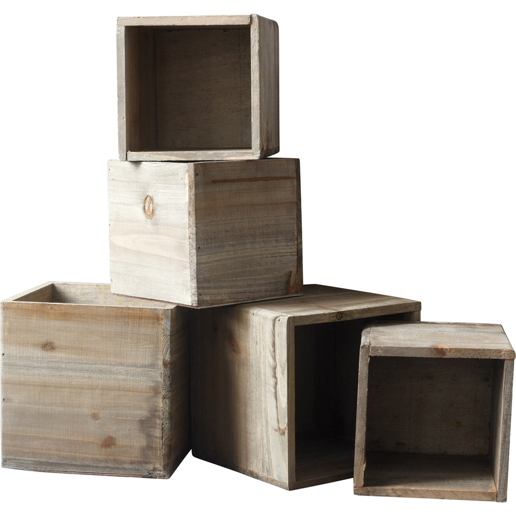 Rustic wooden boxes ready to be filled with flowers in the color palette of your choice