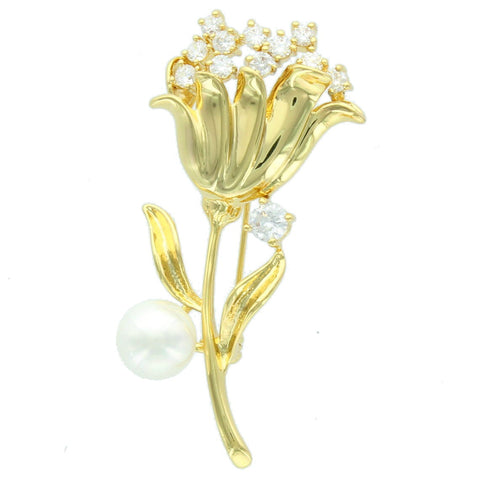 Gold Flower with Diamond