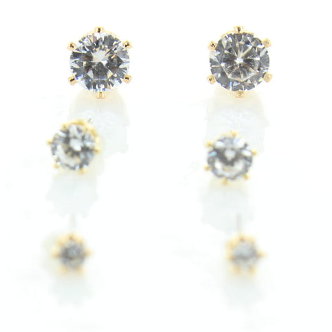 3 Pairs CZ Wrapped Earrings