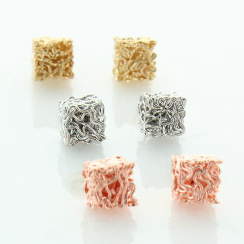 6 Pairs Three Tone Earrings