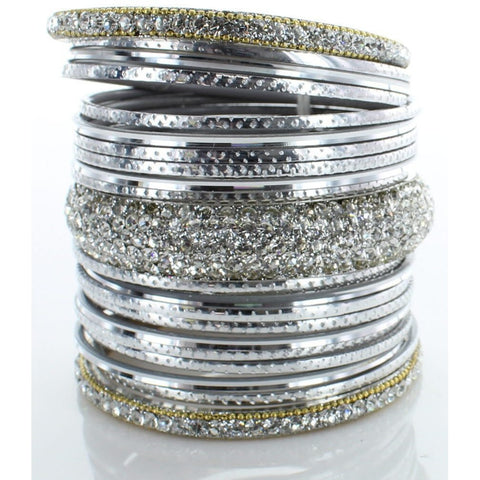 Silver Diamond Stack Bangle