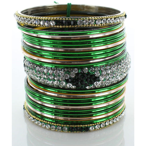 Green Diamond Stack Bangle