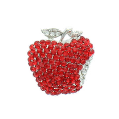 Bitten Red Rhinestone  Apple Pin