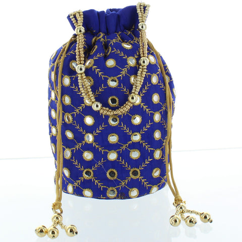 Royal Blue Embroidery Potli