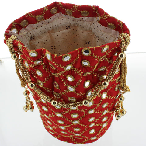 Red Embroidery Potli
