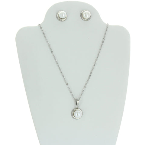 Stainless Steel Pearl Necklace Set
