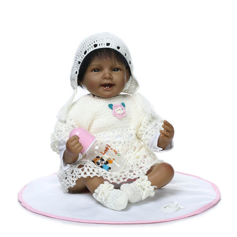 Baby 22 inch Real Looking African American Baby Girl Doll Full Silicone Vinyl Body Dolls
