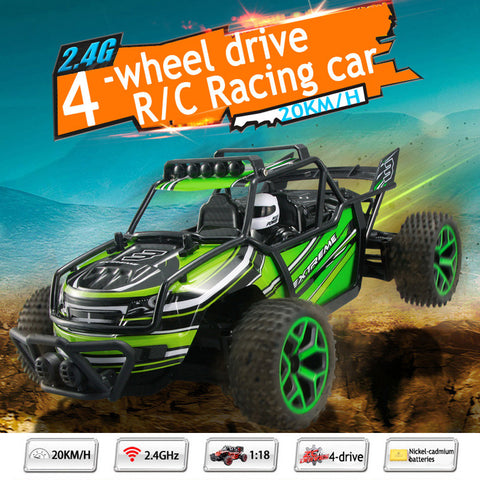 RC Cars Off-Road Rock Vehicle Crawler Truck 2.4Ghz 4WD High Speed 1:18 Remote Radio Control Racing Cars Electric Fast Race Buggy Hobby Car Green