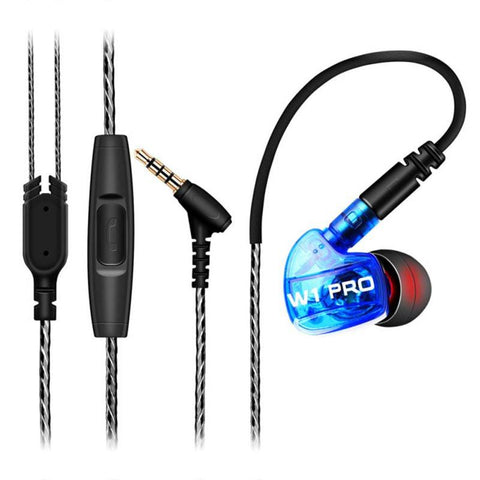 W1 Pro Earphone Stereo HIFI Sport earphones sweatproof With Mic DC Detachable Cable