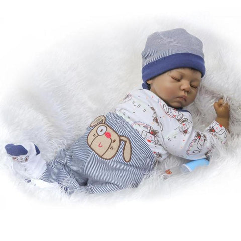 African American Sleeping Reborn Baby Dolls Look Real Full Body Soft Silicone 20 Inch